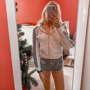 PINK cropped zip hoodie